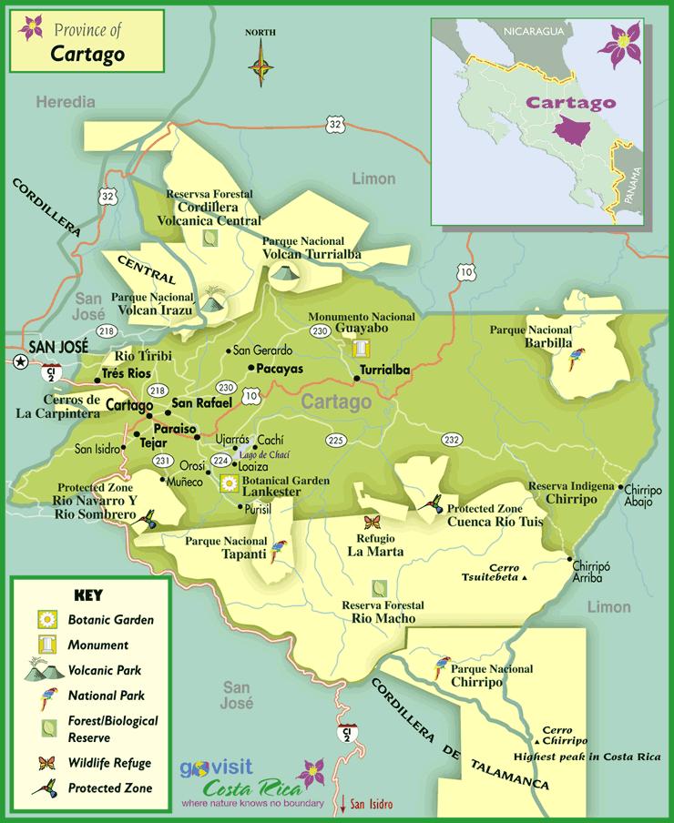 Mapa de la Región de Cartago