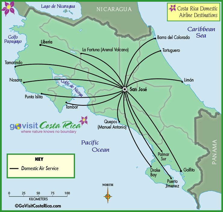 Mapa de las Aerolíneas Locales de Costa Rica /