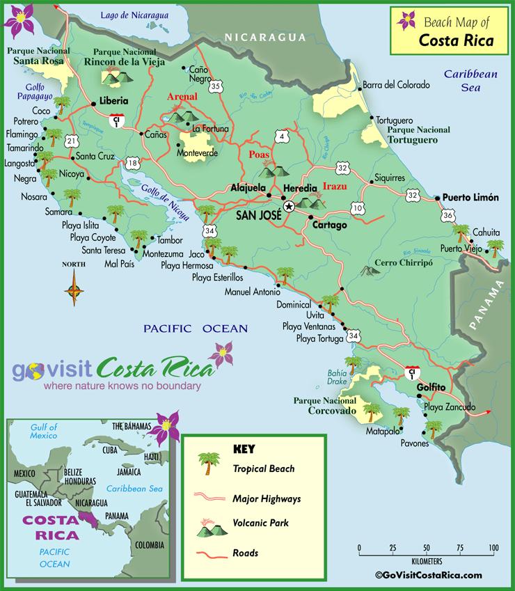 Mapa de las Playas de Costa Rica