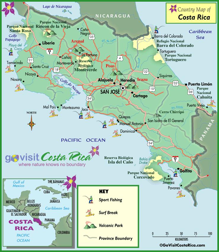 Mapa del país de Costa Rica