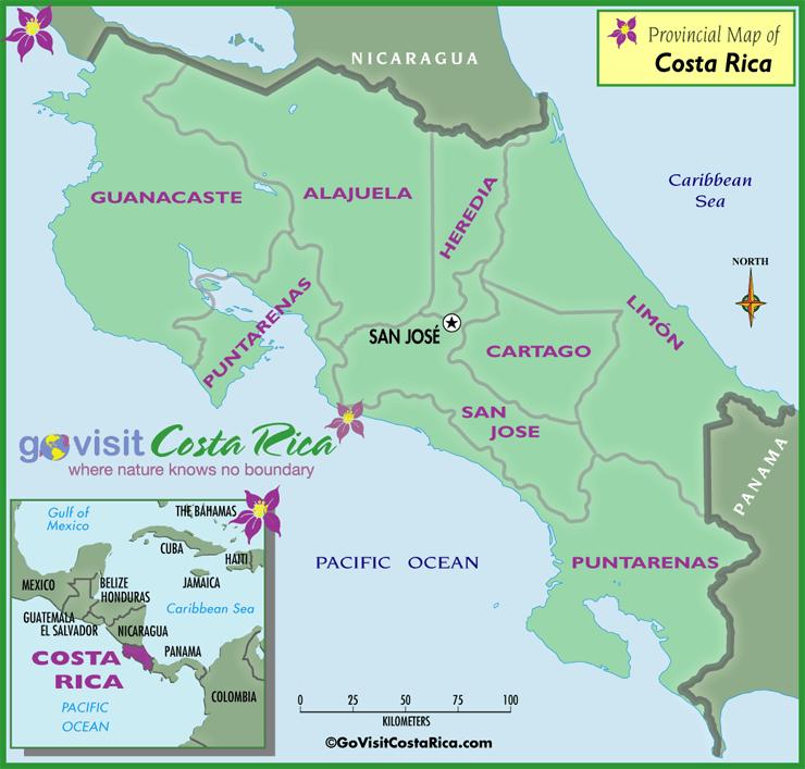 Mapa de Provincias de Costa Rica