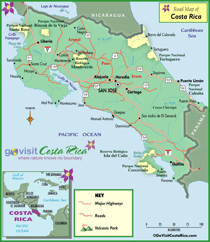 Mapa de las Rutas de Costa Rica
