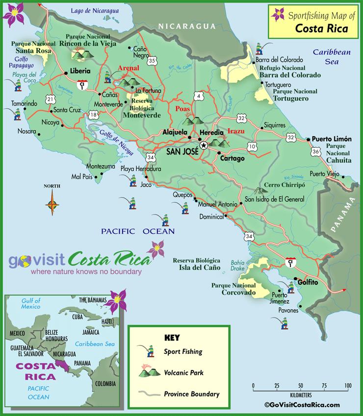 Mapa para Pesca Deportiva en Costa Rica