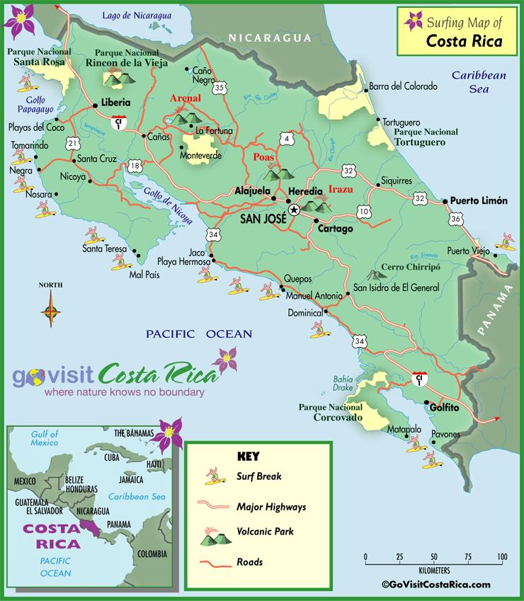 Mapa para Surfear en Costa Rica