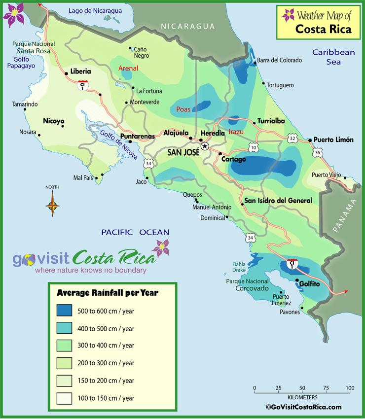 Mapa de Lluvia de Costa Rica
