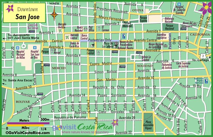 Mapa de San José Centro