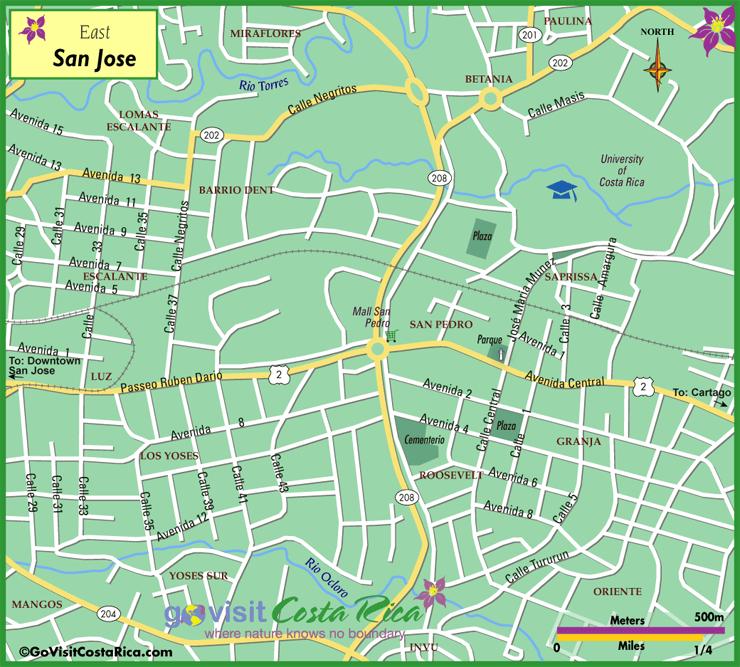 Mapa del Este de San José