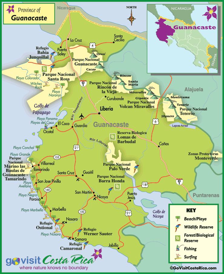 Mapa de la Región de Guanacaste