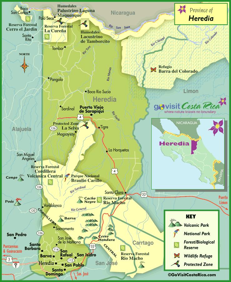 Mapa de la Región de Heredia