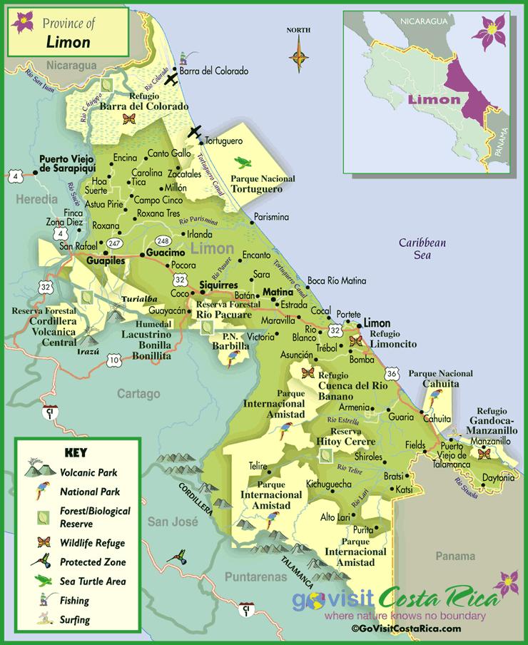 Mapa de la Región de Limón