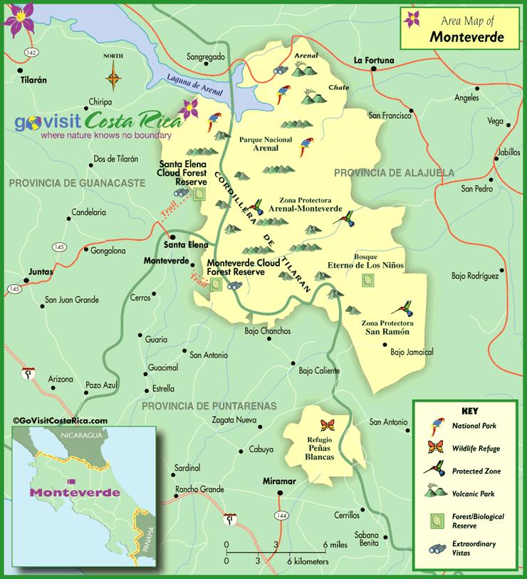 Mapa del Área de Monteverde