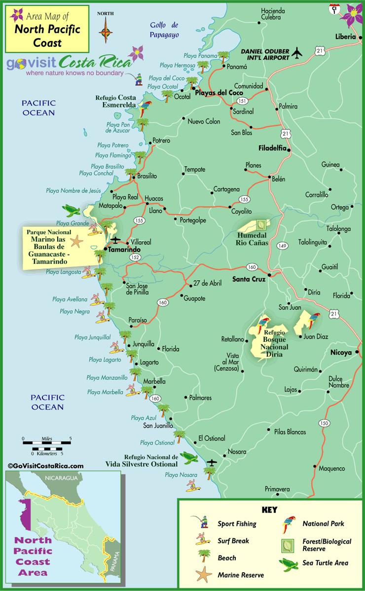 Mapa de la Costa del Pacífico Norte