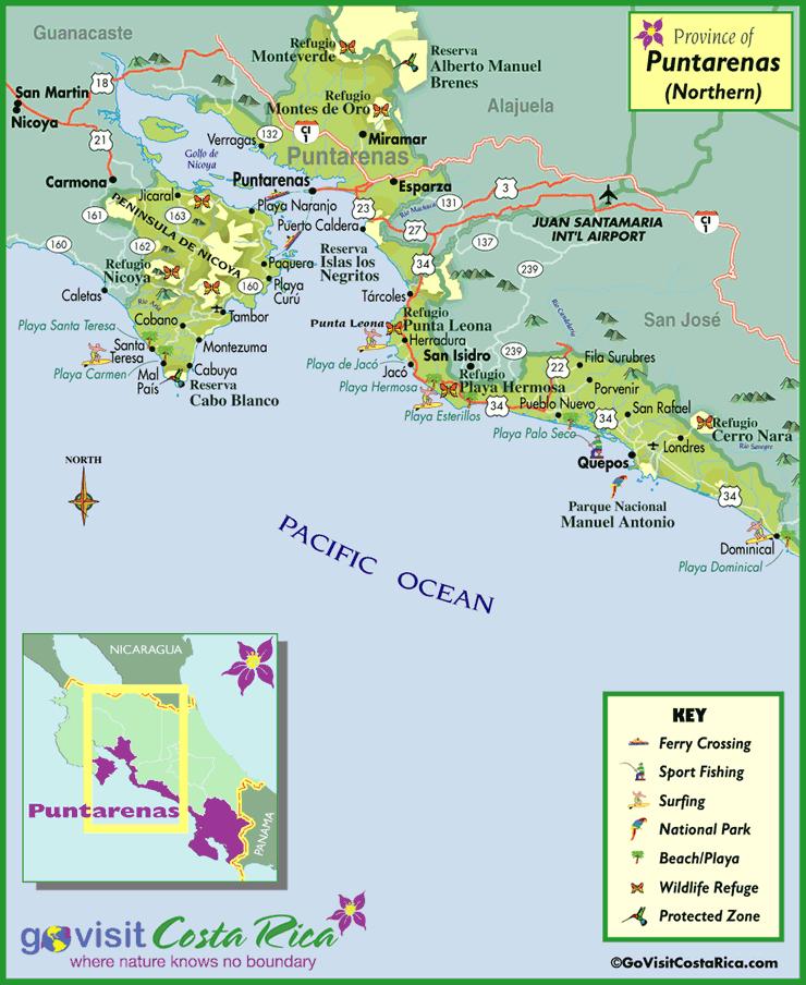Mapa de Puntarenas Norte