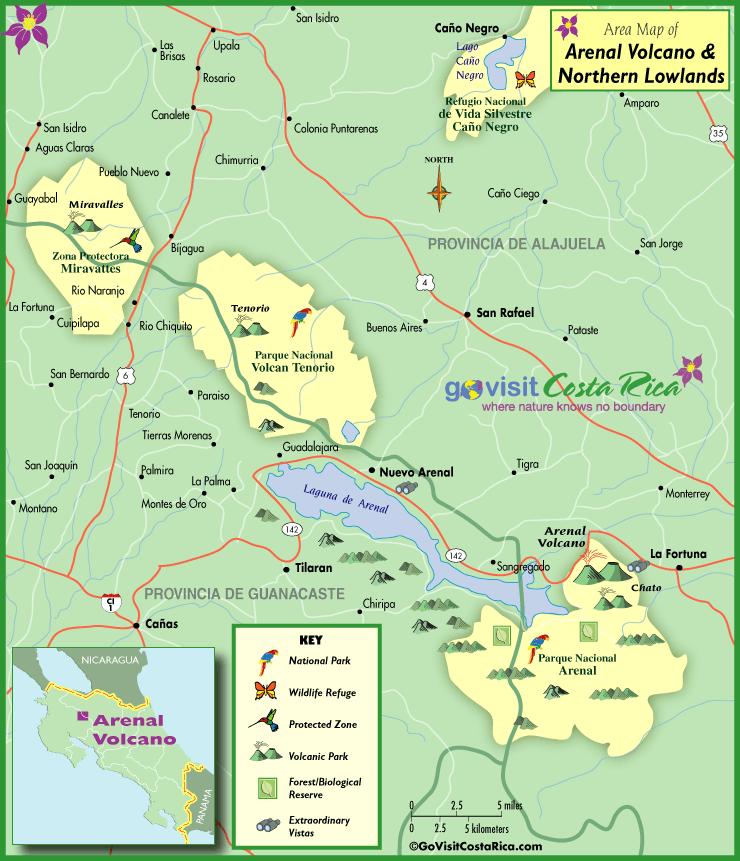 Mapa de la Llanura del Volcán Arenal
