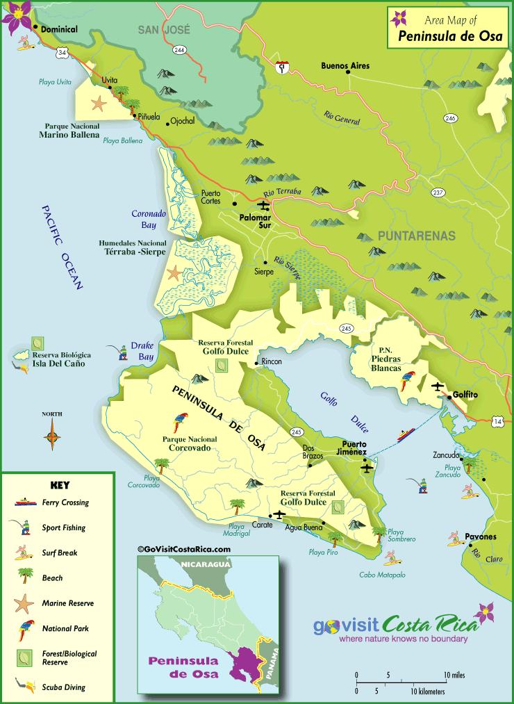 Mapa de la Península de Osa & Bahía Drake