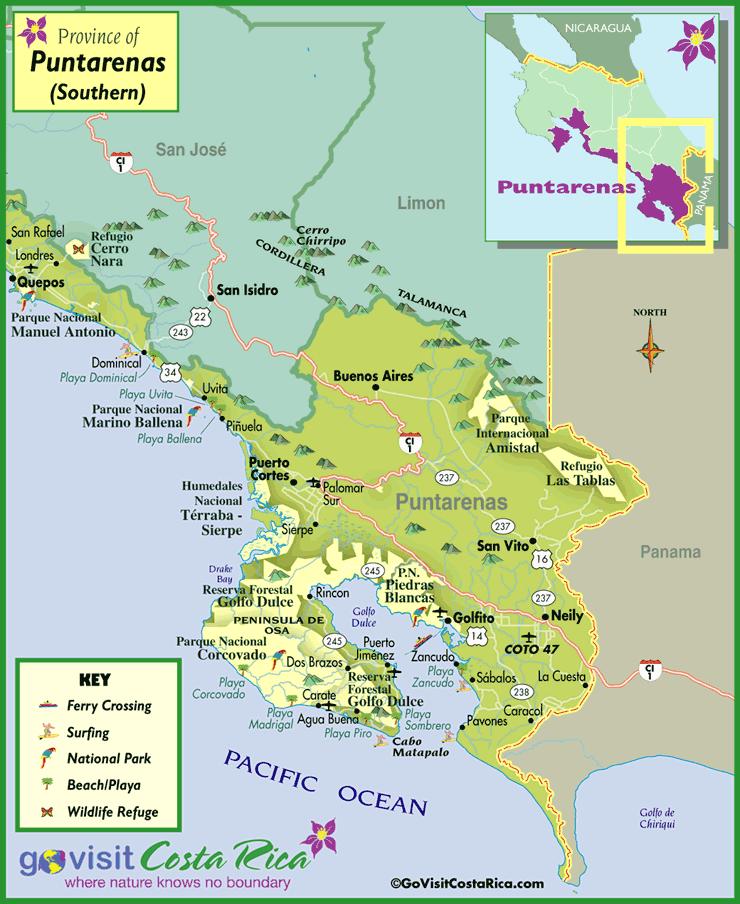Karte der Region Puntarenas Sur