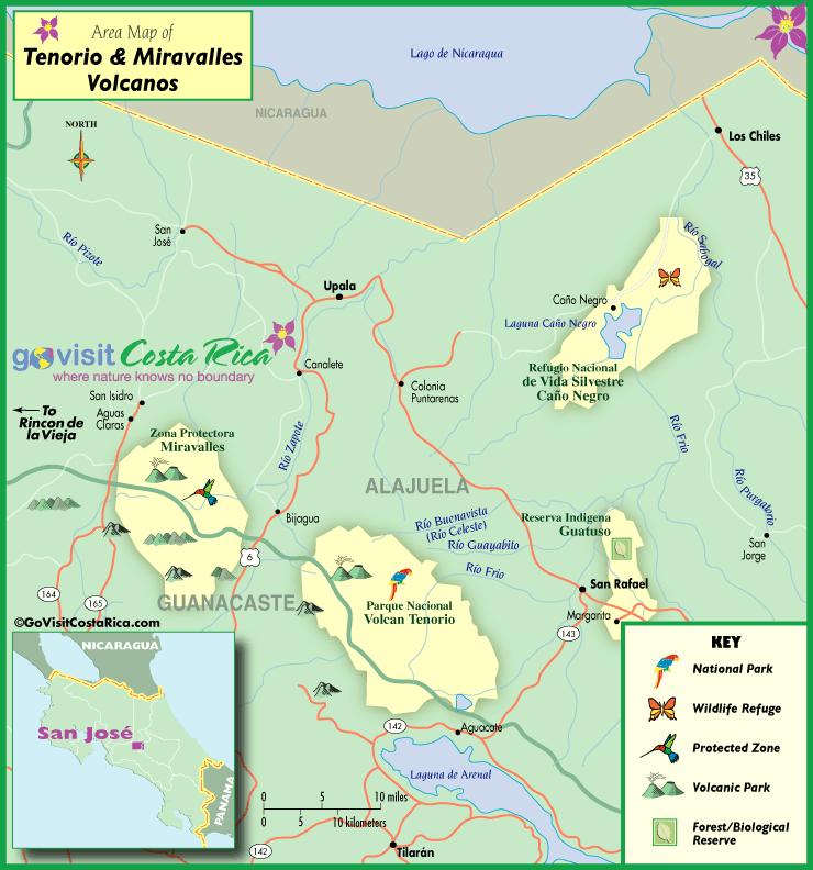 Mapa del Volcán Miravalles y Tenorio