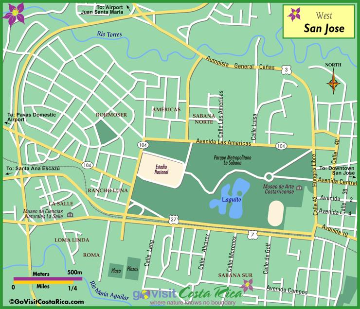 Mapa del Oeste de San José