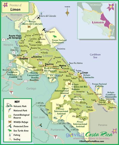 Mapa De Costa Rica Playas.Mapa De La Region De Limon Costa Rica Go Visit Costa Rica