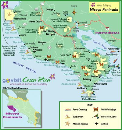 Mapa De Costa Rica Playas.Mapa De La Peninsula De Nicoya Costa Rica Go Visit Costa
