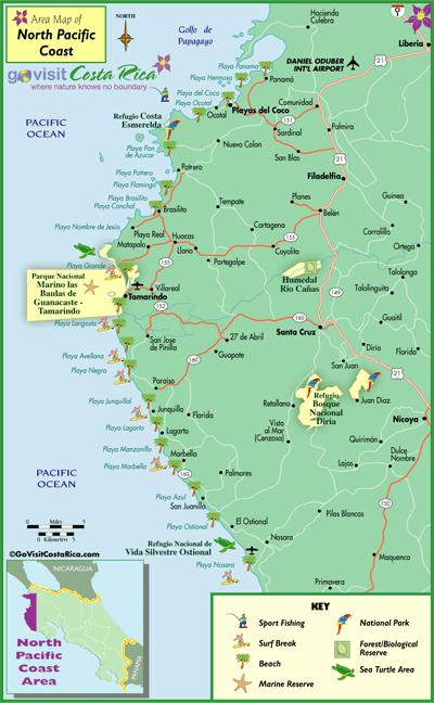 Mapa De Costa Rica Playas.Mapa De La Costa Del Pacifico Norte Costa Rica Go Visit